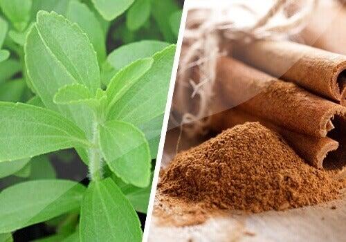 liście stewii oraz cynamon