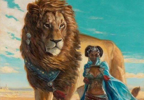 kobieta z lwem