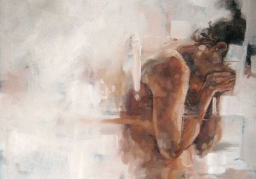 Naga płacząca kobieta - akwarela