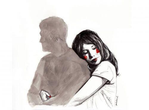 Zakochana kobieta przytula się do cienia - puste obietnice