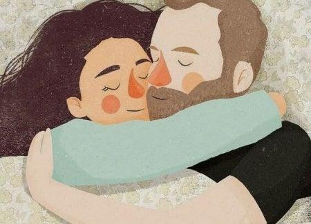 Miłość - przytulająca się para