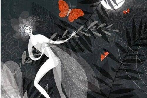 kobieta z motylem w ciemności