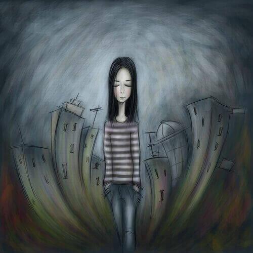 smutna dziewczyna w mieście - wychowanie dzieci
