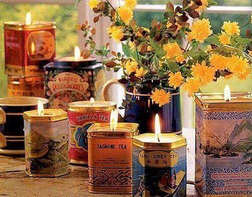 świeczki w puszkach