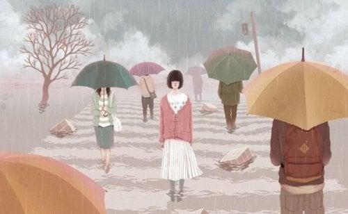 dziewczyna bez parasola, użalanie się