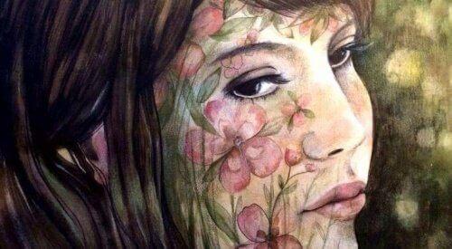 kwiaty na twarzy