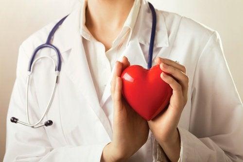 lekarz trzymajacy gumowe serce