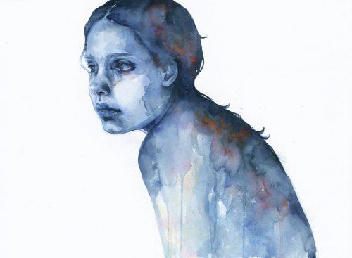 Wizerunek smutnej kobiety targanej przez wewnętrzne konflikty