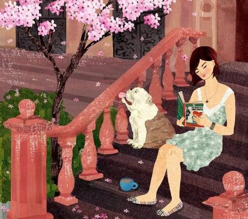 Dziewczyna z książką i psem