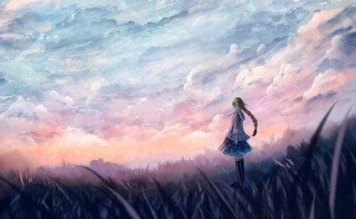 Dziewczyna na polu - samotność i cisza