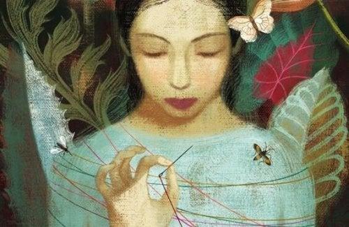 Kobieta splątana w nici
