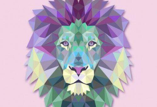 Kolorowa głowa lwa.