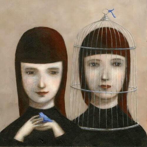 Dwie kobieta, jedna w klatce , przenośnia miłość