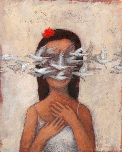 Kobieta ptaki miłość