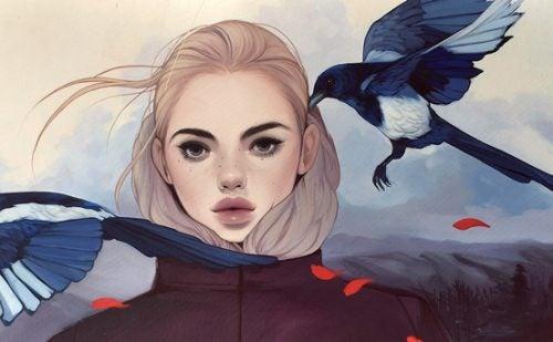 Psychologiczny układ odpornościowy, dziewczynka ptaki
