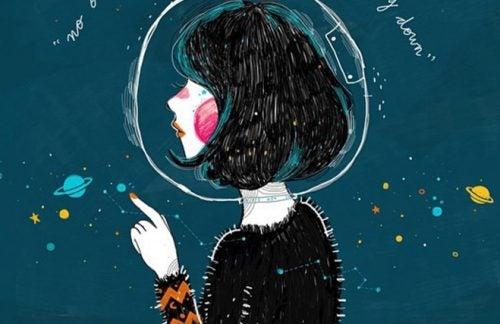 Kobieta w przestrzeni kosmicznej, pogrążona w depresji