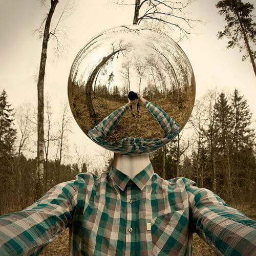 Surrealistyczne zdjęcie mężczyzny