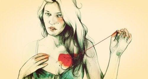 Przyszywająca serce kobieta - czy lepiej być samemu?