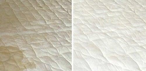Materac przed i po czyszczeniu