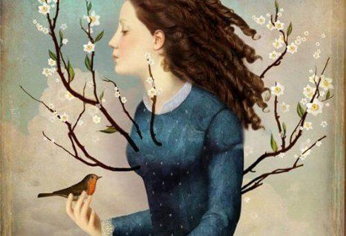 Niezapomniani ludzie zawsze są szczerzy i pomagają Ci odkryć Twoje talenty, jak ta kobieta trzymająca ptaka i ucząca go latać