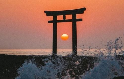 Zachód słońca symbolizujący szczęście