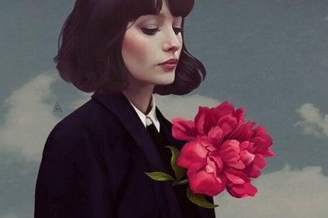 Kobieta z wielkim kwiatem i rozstanie