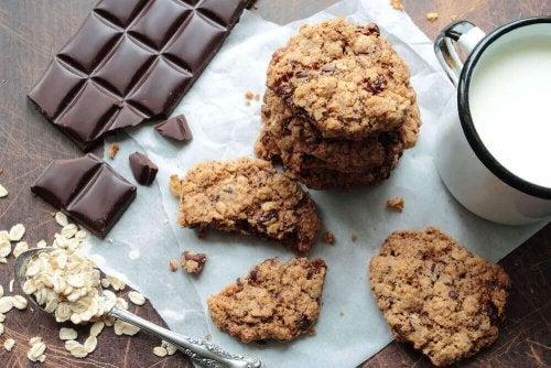 ciasteczka owsiane z czekoladą płatki owsiane