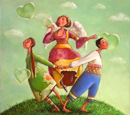 Miłość ma sens - zakochana para i wróżka