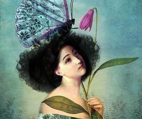 Kobieta, kwiat i motyl Z czasem nauczyłam się, że o uwagę nie należy prosić