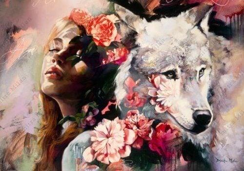 Kobieta i wilk drapieżcy