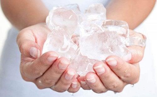 lód w kostkach na hemoroidy