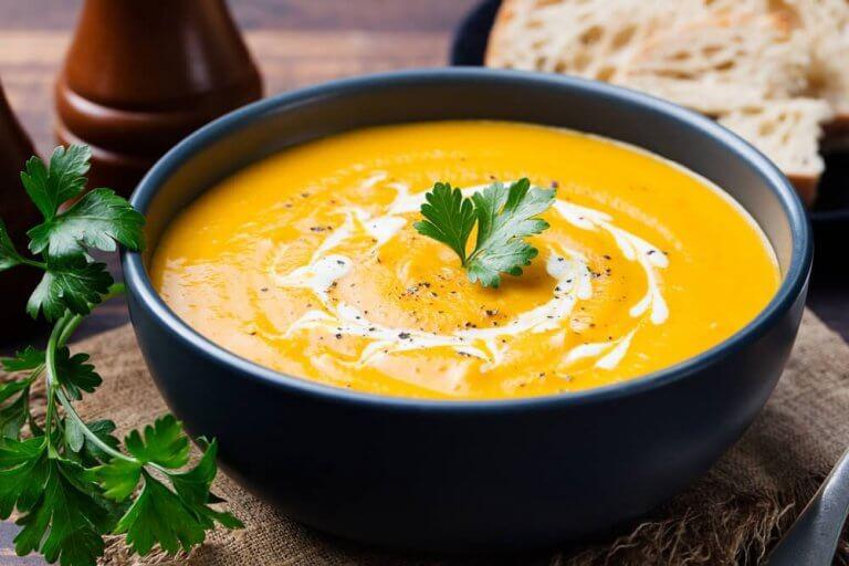 kremowa zupa z dyni i brokułów