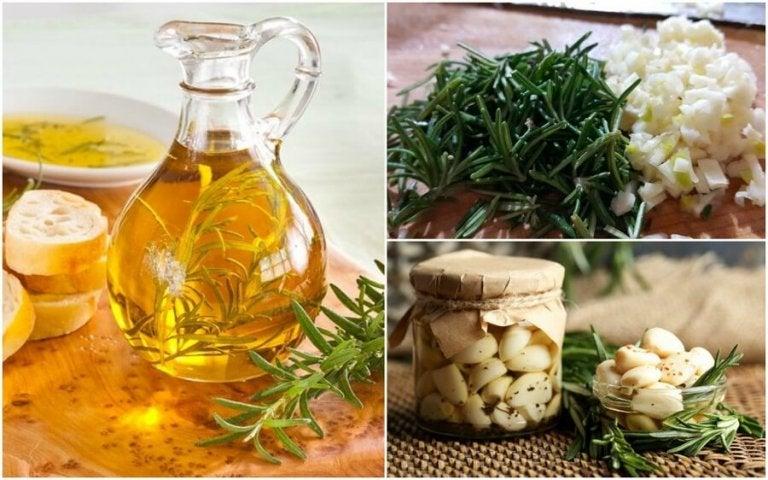 Olej z rozmarynem i czosnkiem domowej roboty