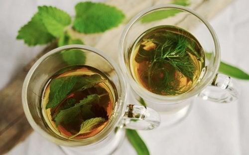 2 szklanki z szałwią a nadmierna potliwość pach