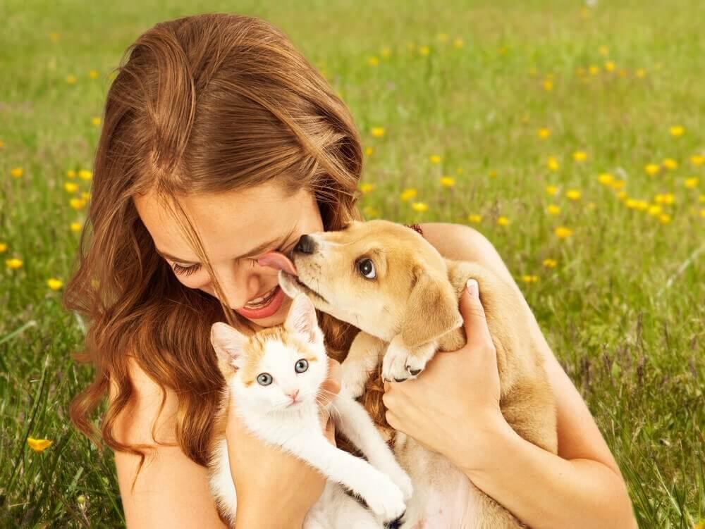 Kobieta z psem i kotem