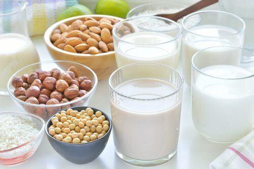 Różne rodzaje mleka roślinnego bogatego w wapń