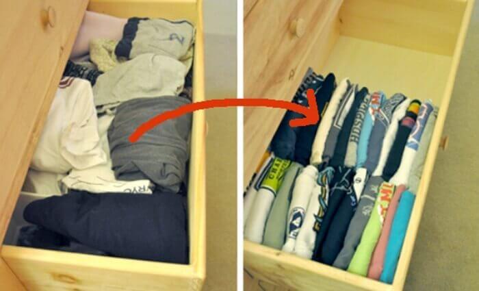 Ubrania w szufladzie