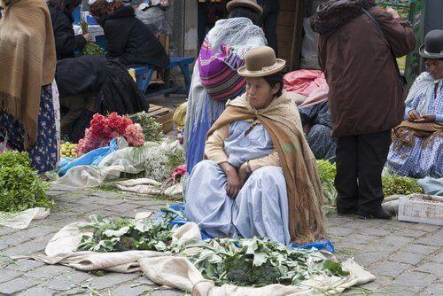 kobieta sprzedająca liście, z których można przygotować napar z liści koki