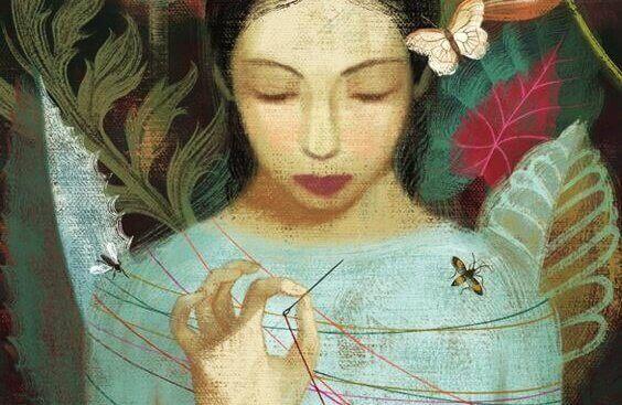 kobieta owinięta nićmi i motyle - dawne rany