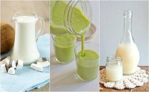 zielone i białe koktajle