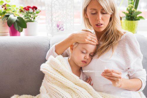 Mama z chorą córką