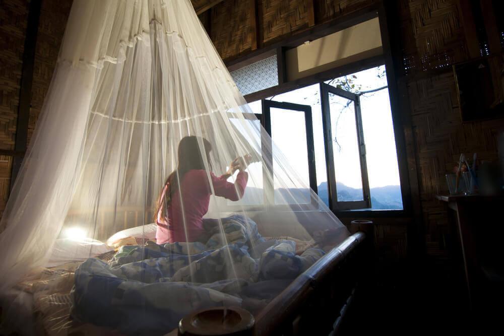 Dziewczynka pod moskitierą - to świetny sposób by uniknąć ukąszenia komarów