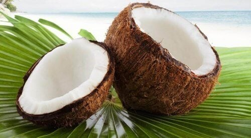 Rozłupany orzech kokosa