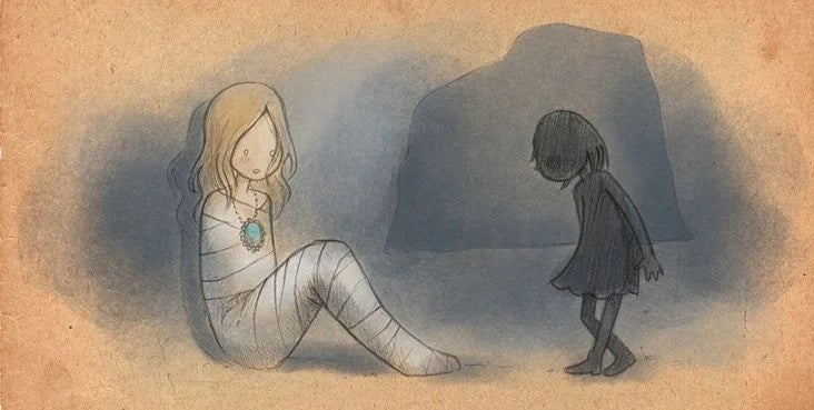 Kobieta mumia i dziewczynka - przmoc wobec dzieci