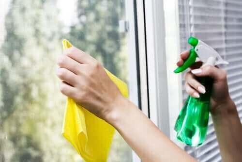 Kobieta czyszcząca okna - ekologiczne środki czyszczące