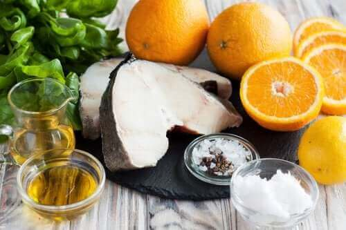 Dorsz z oliwą z oliwek i pomarańczami