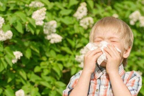 Dziecięce alergie - kichający chłopiec