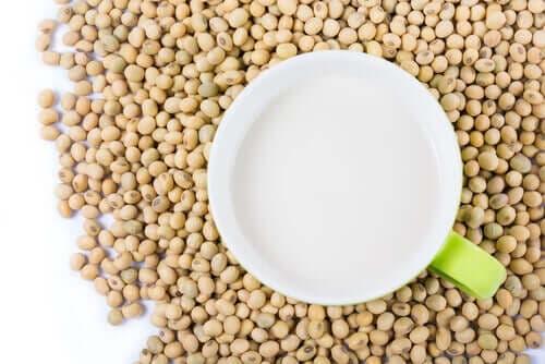 Napój sojowy i ziarna soi