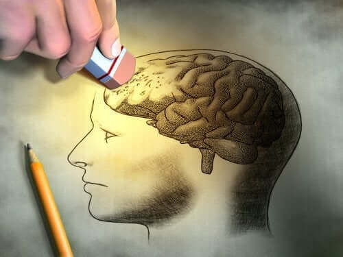 Rysunek mózgu ścieranego gumką